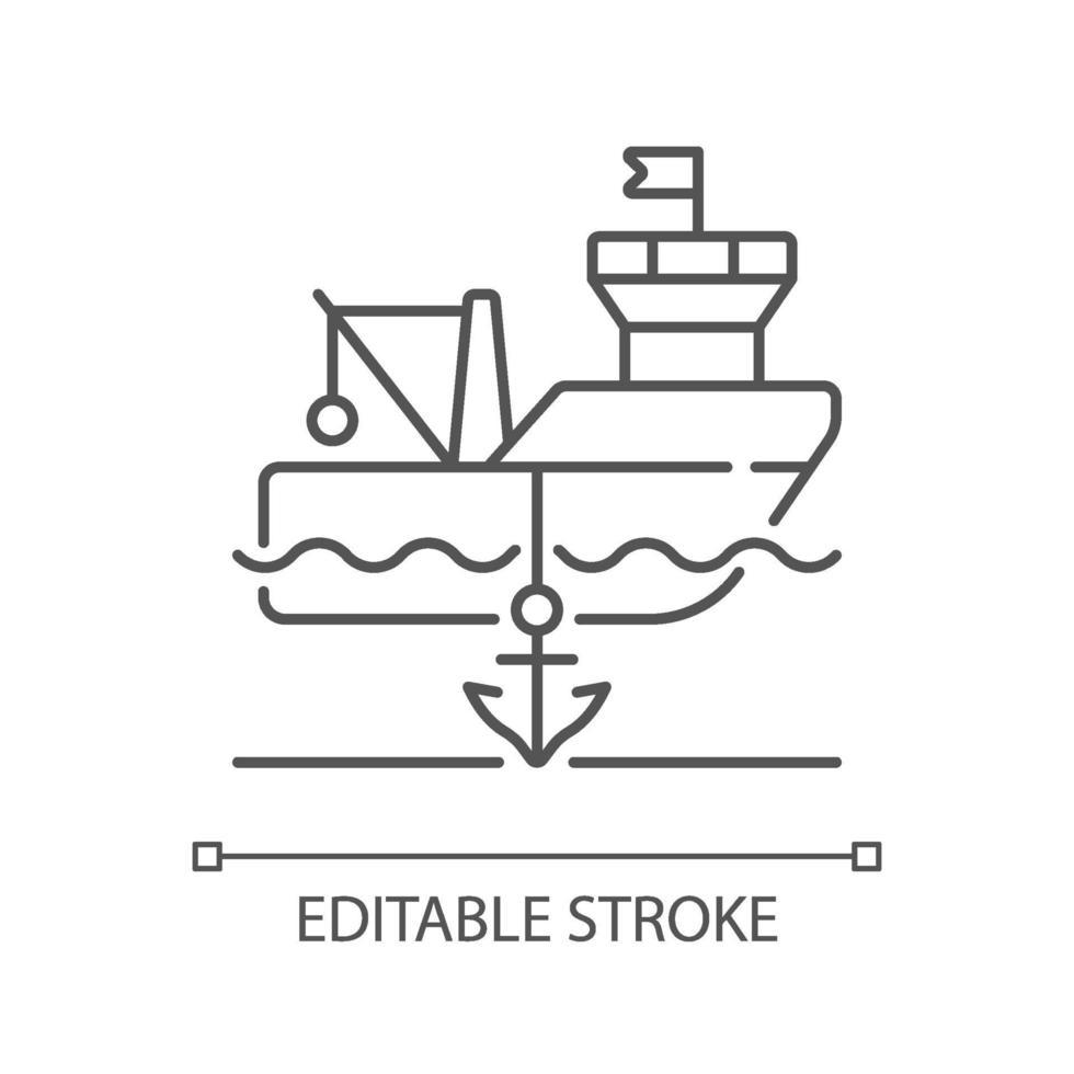 ícone linear de navio ancorado vetor
