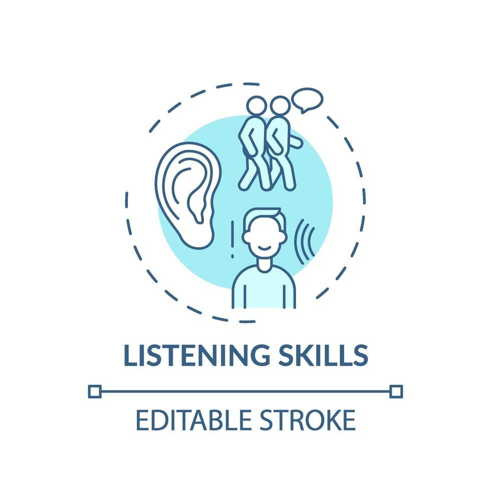 ícone do conceito de habilidades de escuta turquesa vetor