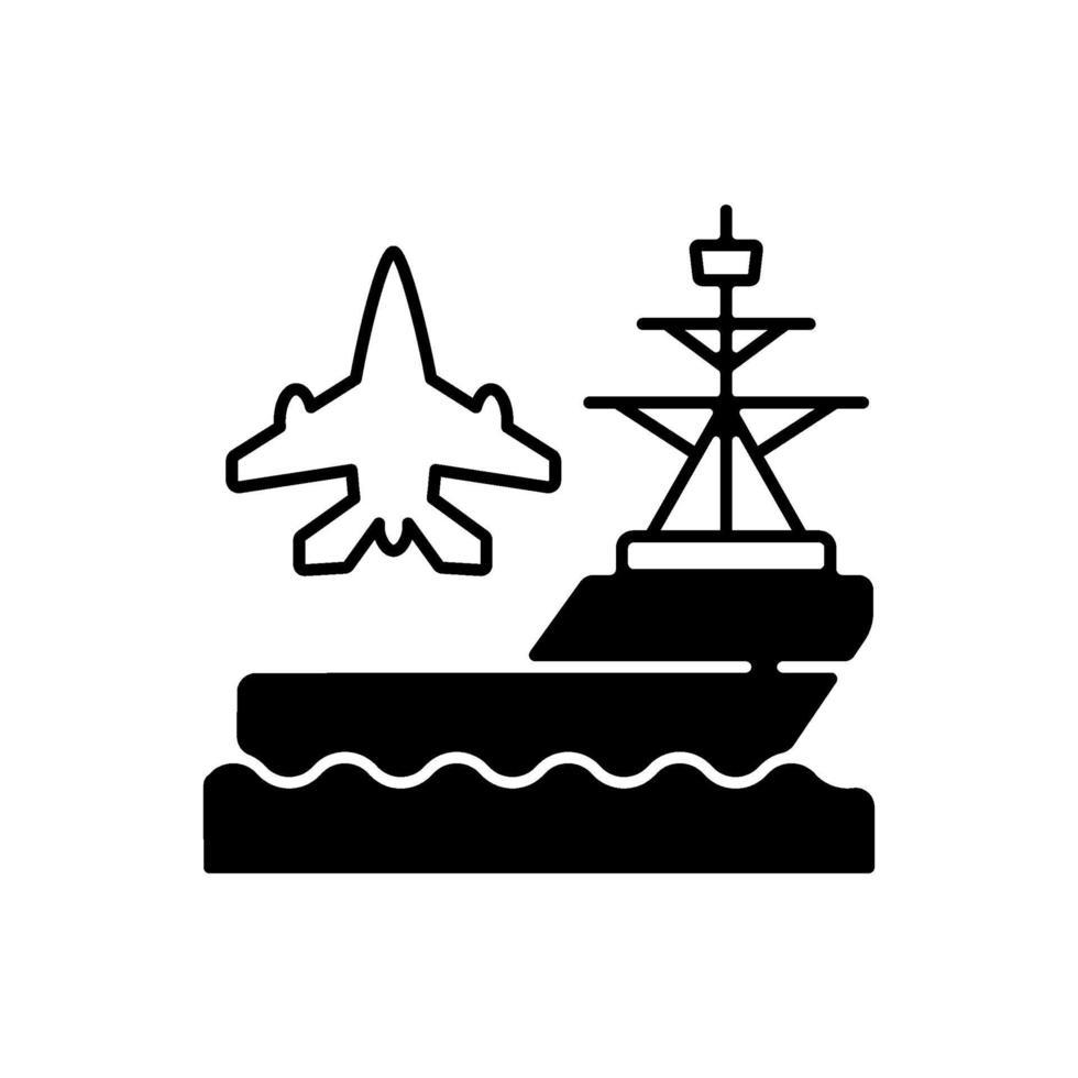 ícone linear preto do porta-aviões vetor