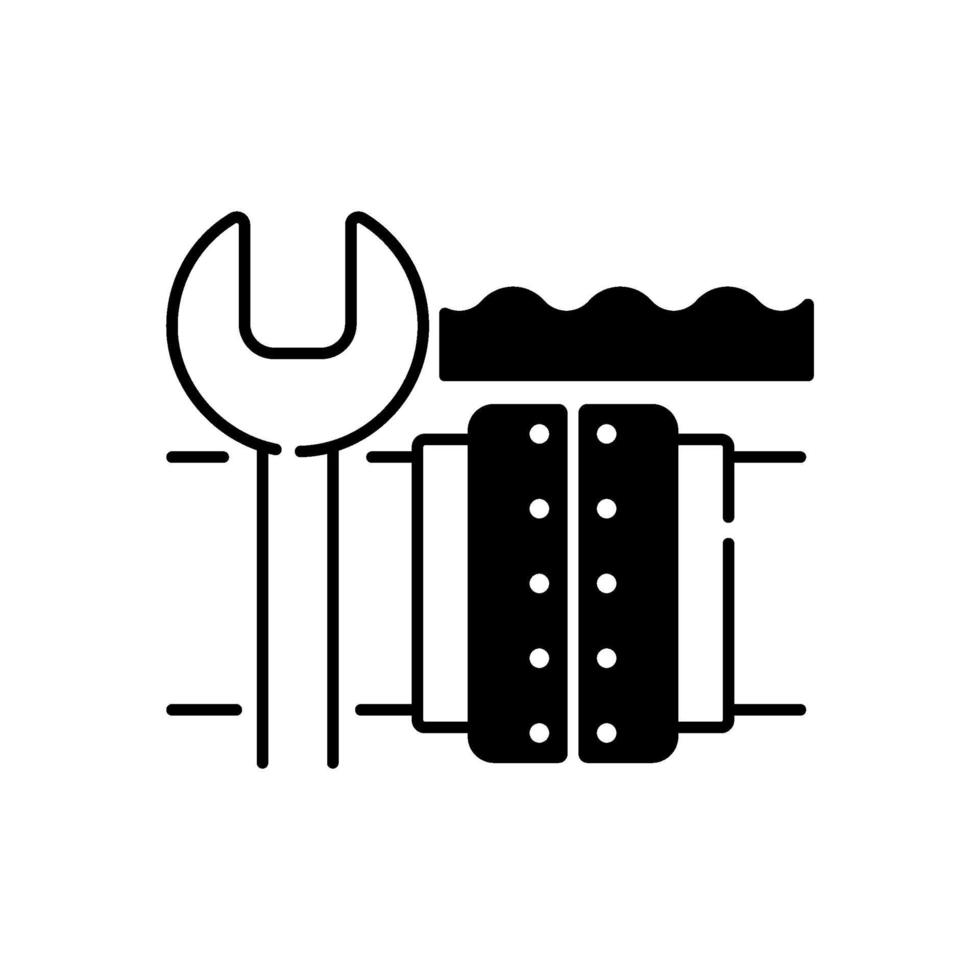 ícone linear preto de reparo de oleoduto subaquático vetor