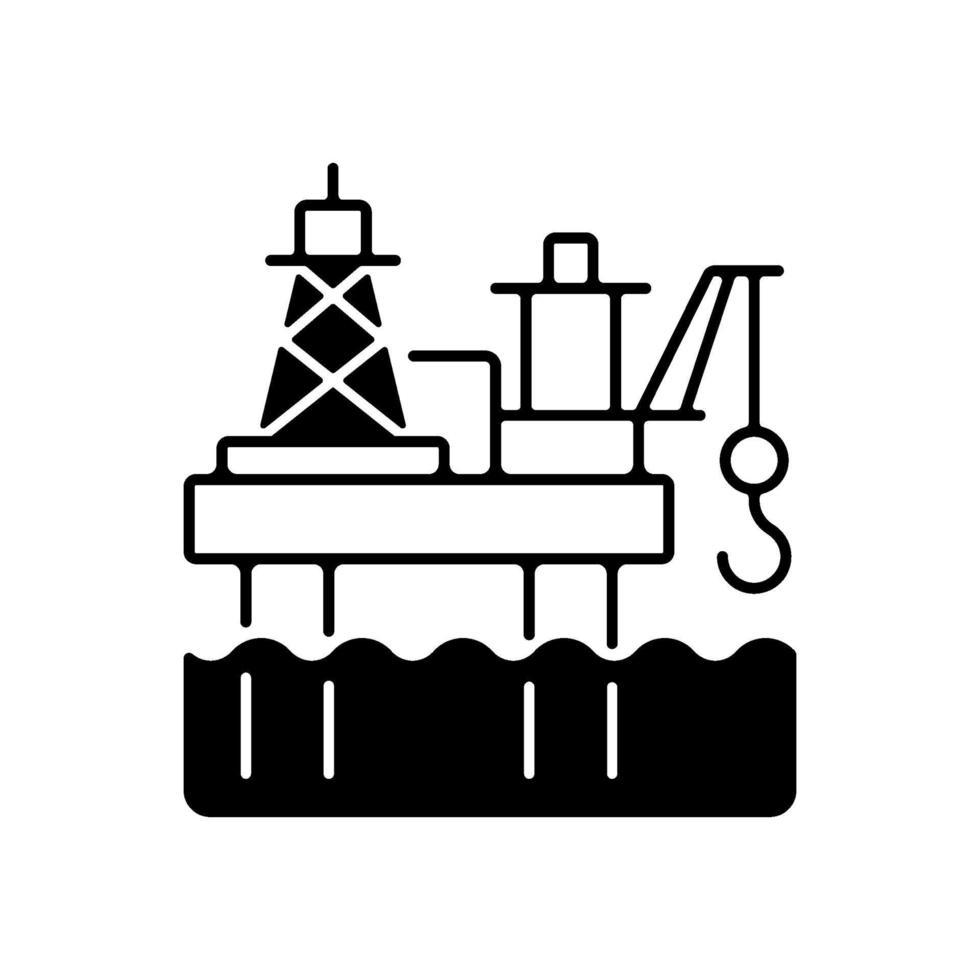 ícone linear preto de plataforma de petróleo offshore vetor