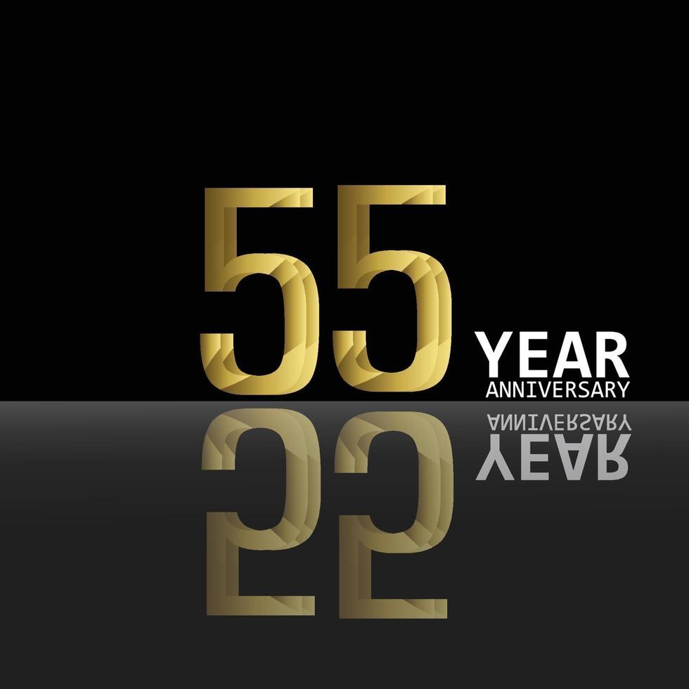 55 anos de comemoração de aniversário ouro preto cor fundo vetor modelo design ilustração