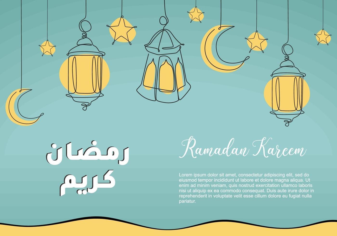 lanterna ramadan desenho de linha contínua decorativo para design de cartão. projeto de celebração islâmica islâmica. caligrafia árabe significa ramadã holly vetor