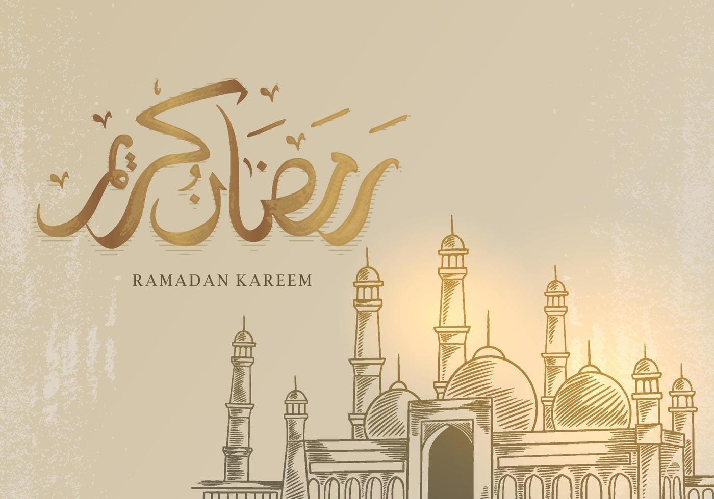 cartão Ramadan Kareem com grande mesquita vetor