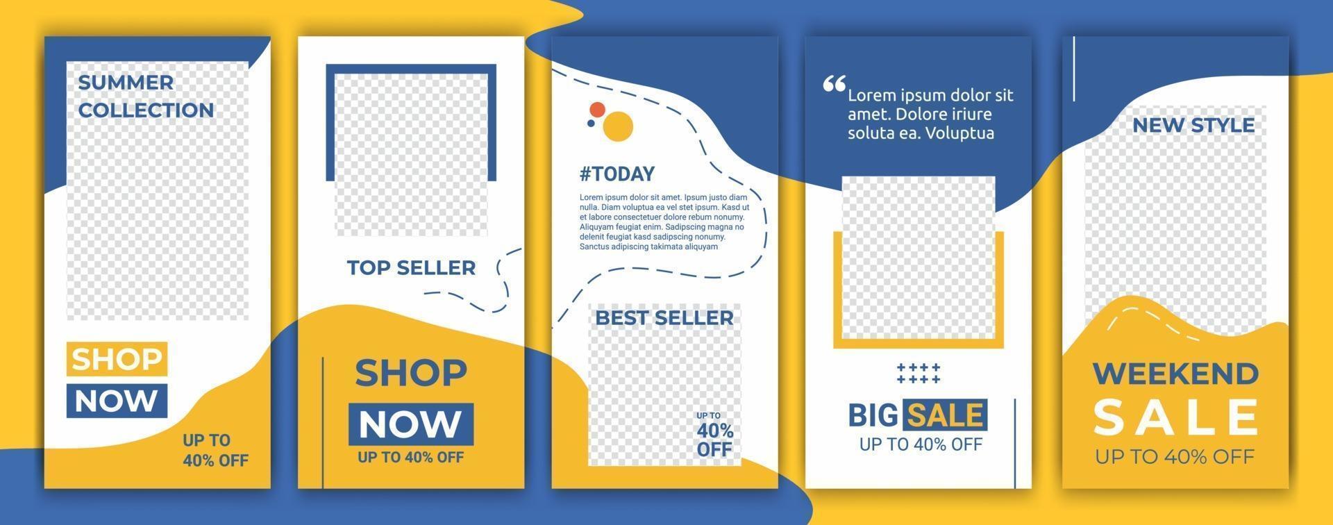 banners empacotar kit conjunto de mídia social história ig. layout para promoção. fundo de banner de venda de histórias geométricas, cartaz, folheto, cupom, cartão-presente de composição de layout, modelos de smartphone vetor
