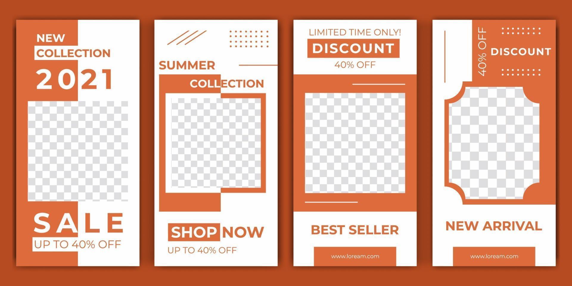 modelos de histórias editáveis na moda com laranja clara, ilustração vetorial. layout de história de postagem de mídia social. desenhe fundos para histórias de mídia social para descontos de venda e promoção de produtos. vetor