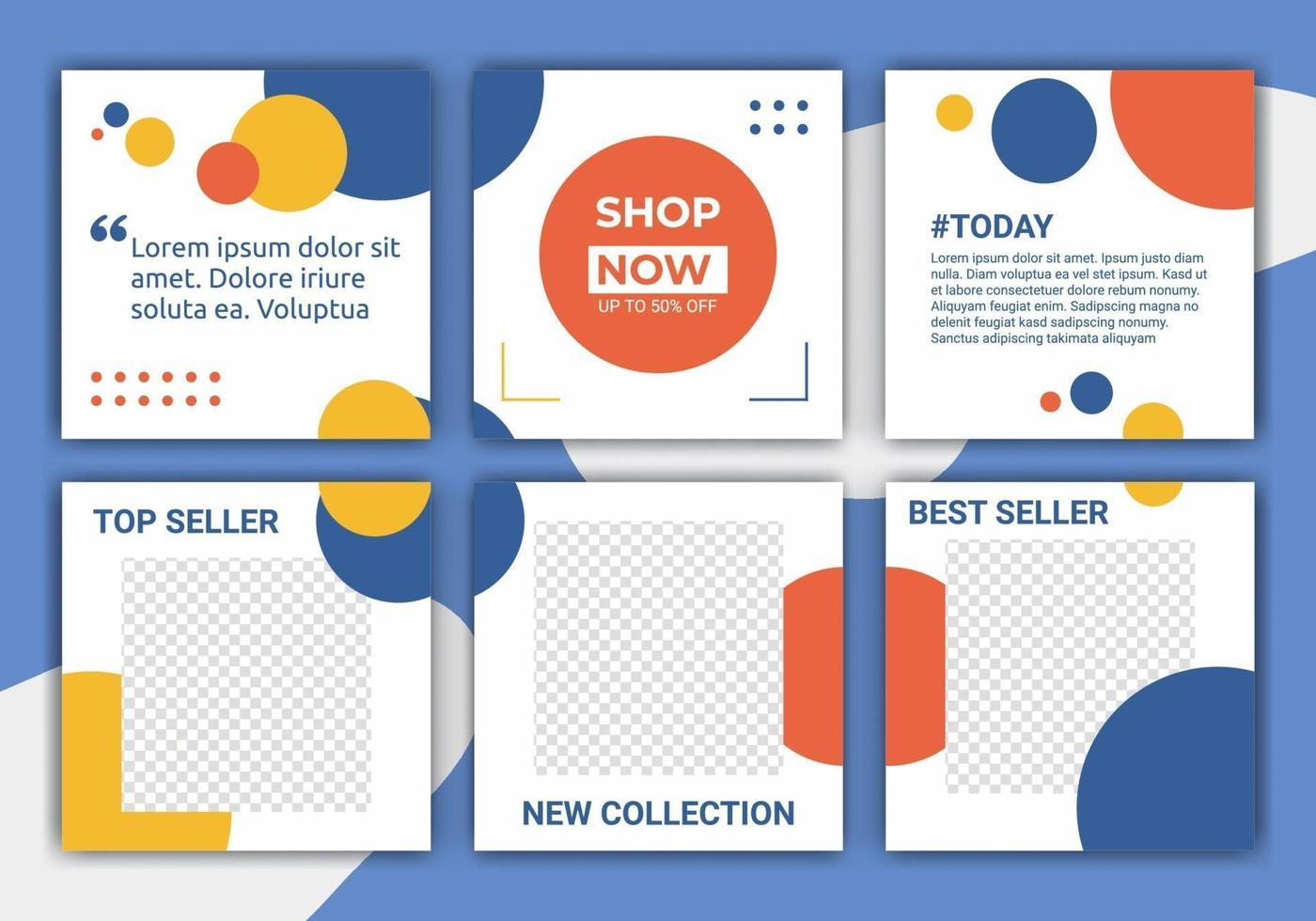 conjunto de designs de modelo de feed de postagem de mídia social. liquidação de verão. promoção de marca de moda. padrão abstrato com pastel azul, amarelo, laranja e branco. ilustração vetorial para ig post vetor