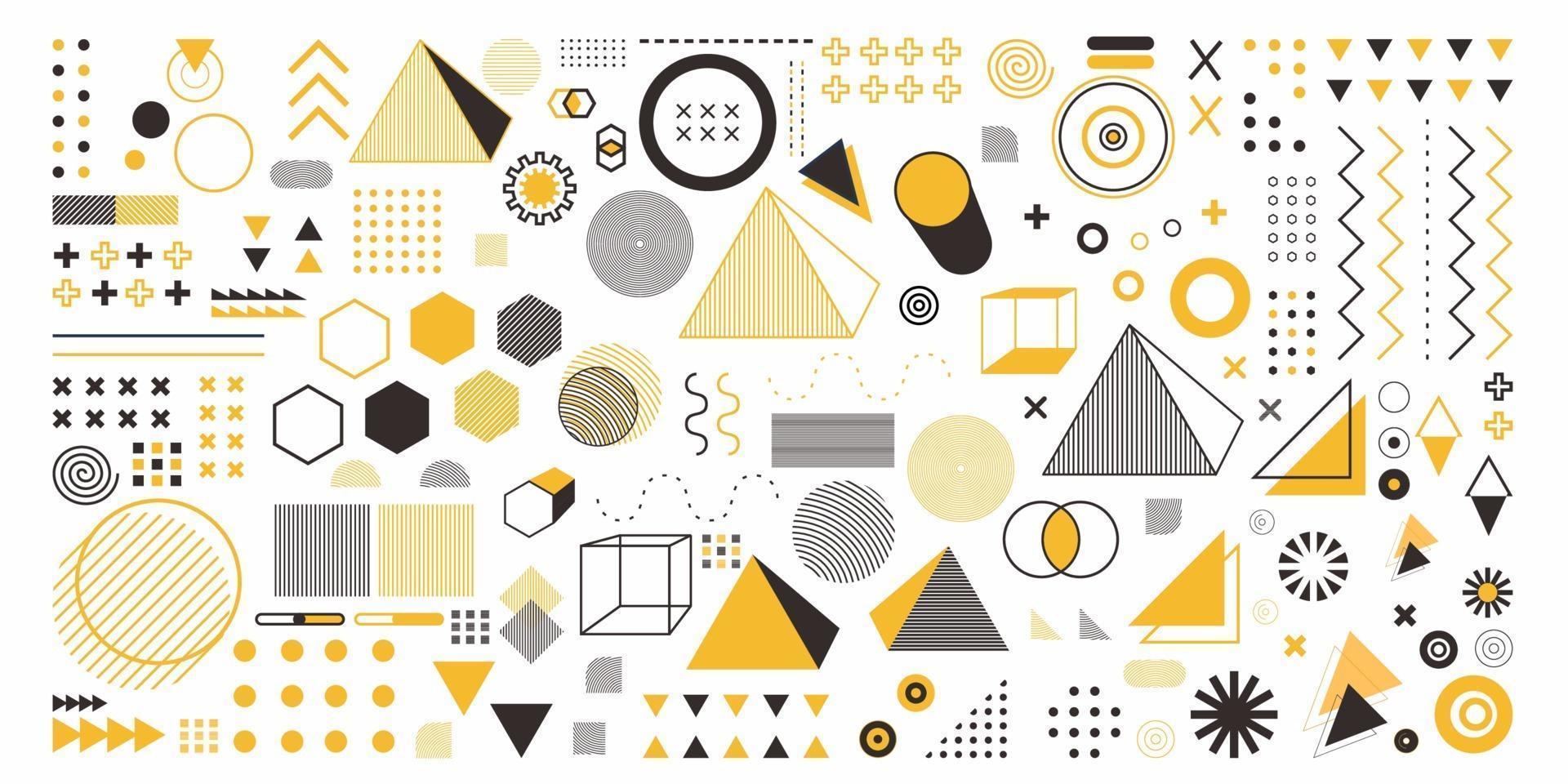 geometria abstrata definir objeto na cor amarela. um pacote de 100 artes de desenho geométrico. design de memphis, elementos retro para web, vintage, anúncio, banner comercial, cartaz, folheto, outdoor, venda vetor