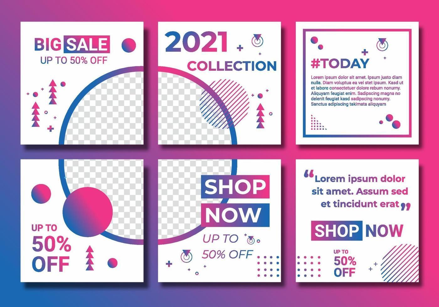 templates set mídia social post para anúncio de venda de moda, design com gradiente de cor rosa, roxo e azul. modelo de plano de fundo com espaço de cópia para imagens projetadas por artes de linha coloridas abstratas vetor