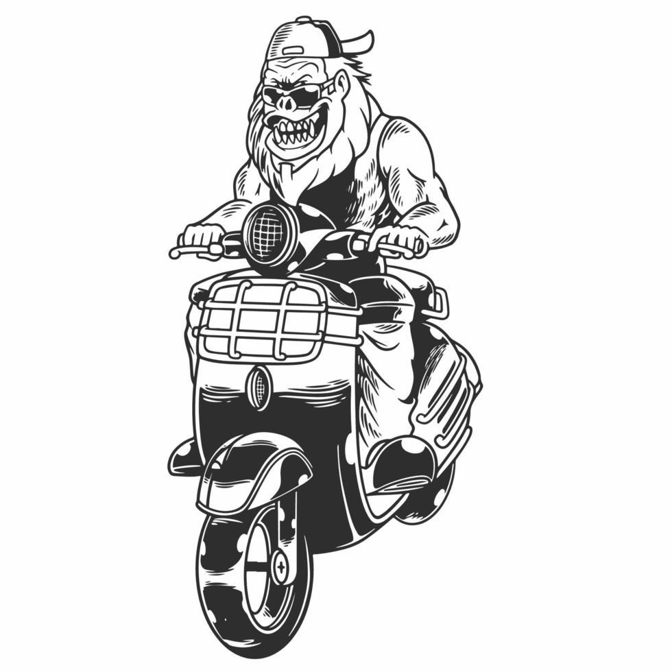 motociclista gorila cruel vintage. macaco zangado com chapéu e óculos de andar de moto em ilustração vetorial de estilo monocromático isolado. bom para estampas de camisetas, pôsteres, roupas e outros usos vetor