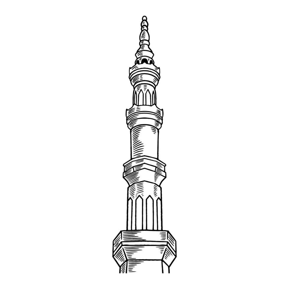 esboço detalhado da torre da mesquita para ramadan kareem isolado no fundo branco. feliz ramadan mubarak desenho à mão livre. ilustração vetorial para celebração do ramadã com design islâmico vetor