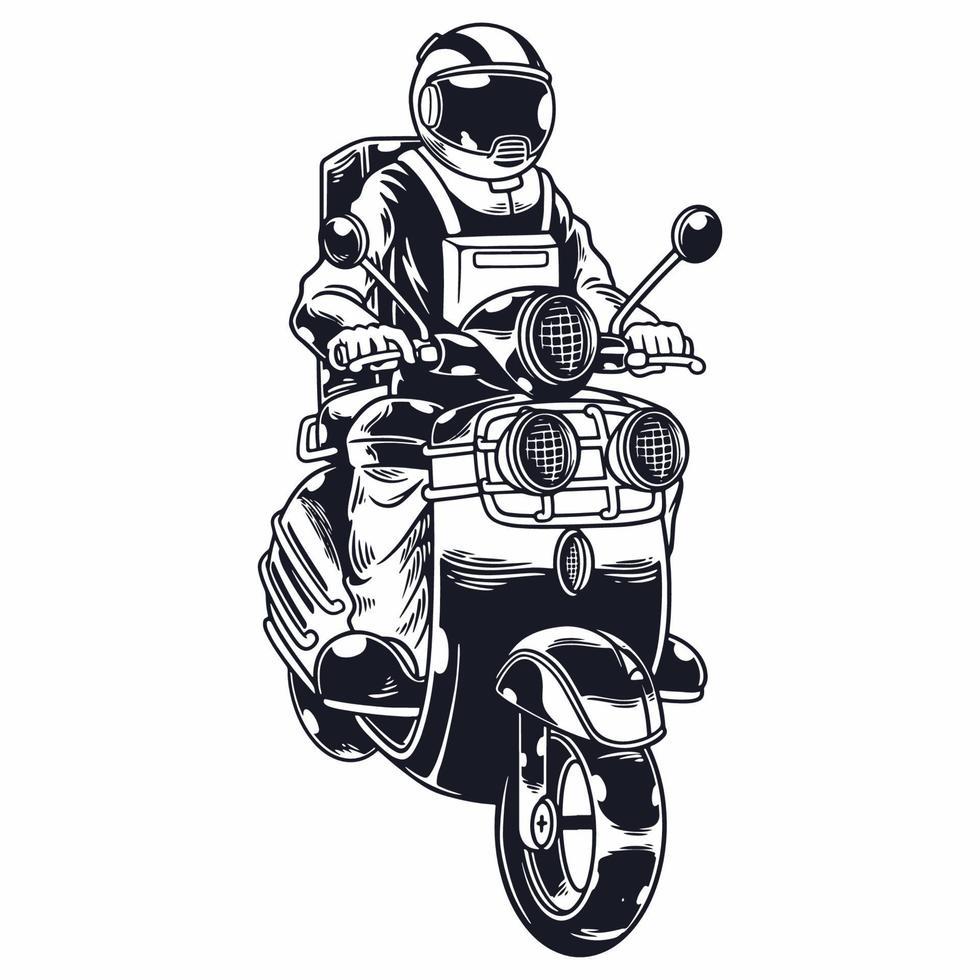 astronauta equitação scooter em ilustração vetorial de estilo monocromático isolado. o homem do espaço do motociclista anda de motocicleta. impressão de camisetas e outro design de roupas da moda. ilustração vetorial infantil vetor
