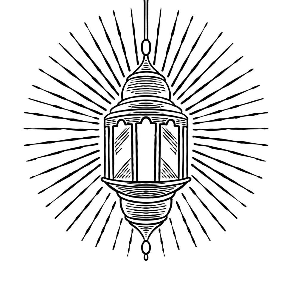 antigo vintage retro ramadã lanterna mão desenhada design. eid mubarak, festa iftar e tema ramadan kareem. lâmpada tradicional islâmica para a celebração do feriado do povo muçulmano. ilustração de desenho vetorial vetor
