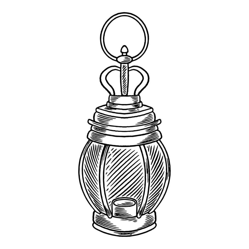 lanternas forradas árabes. Ramadã celebração vintage ilustração gravada, desenho desenhado à mão. lâmpadas penduradas tradicionais com decoração árabe para o conceito de celebração de festivais da comunidade muçulmana vetor