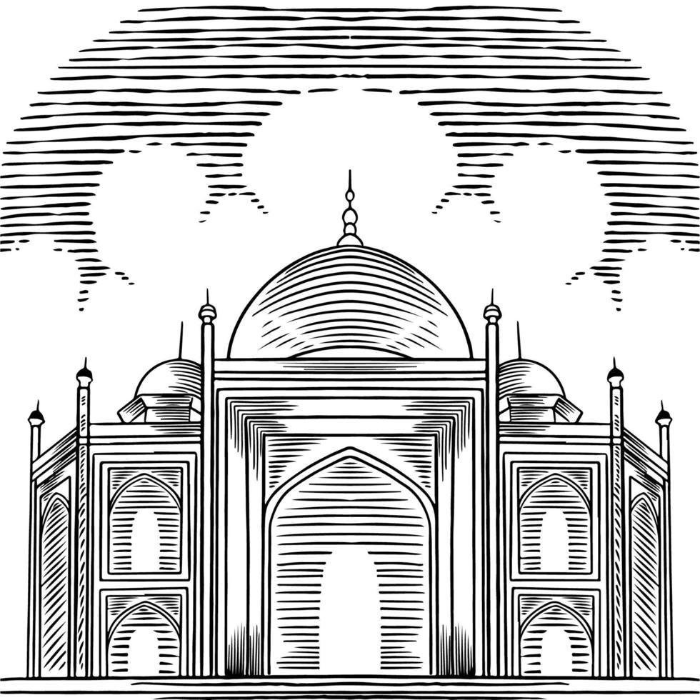 fundo árabe vector com mão desenhada bela grande mesquita. elementos de design de cartão de felicitações. religião e cultura árabes, arquitetura árabe. Ramadã, ilustração do esboço do conceito eid mubarak.