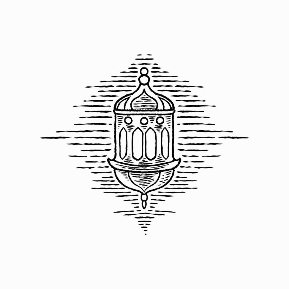 projeto desenhado da mão da lanterna do ramadã retro vintage. lâmpada tradicional islâmica para a celebração do feriado do povo muçulmano. eid mubarak, festa iftar e tema ramadan kareem. ilustração de desenho vetorial vetor