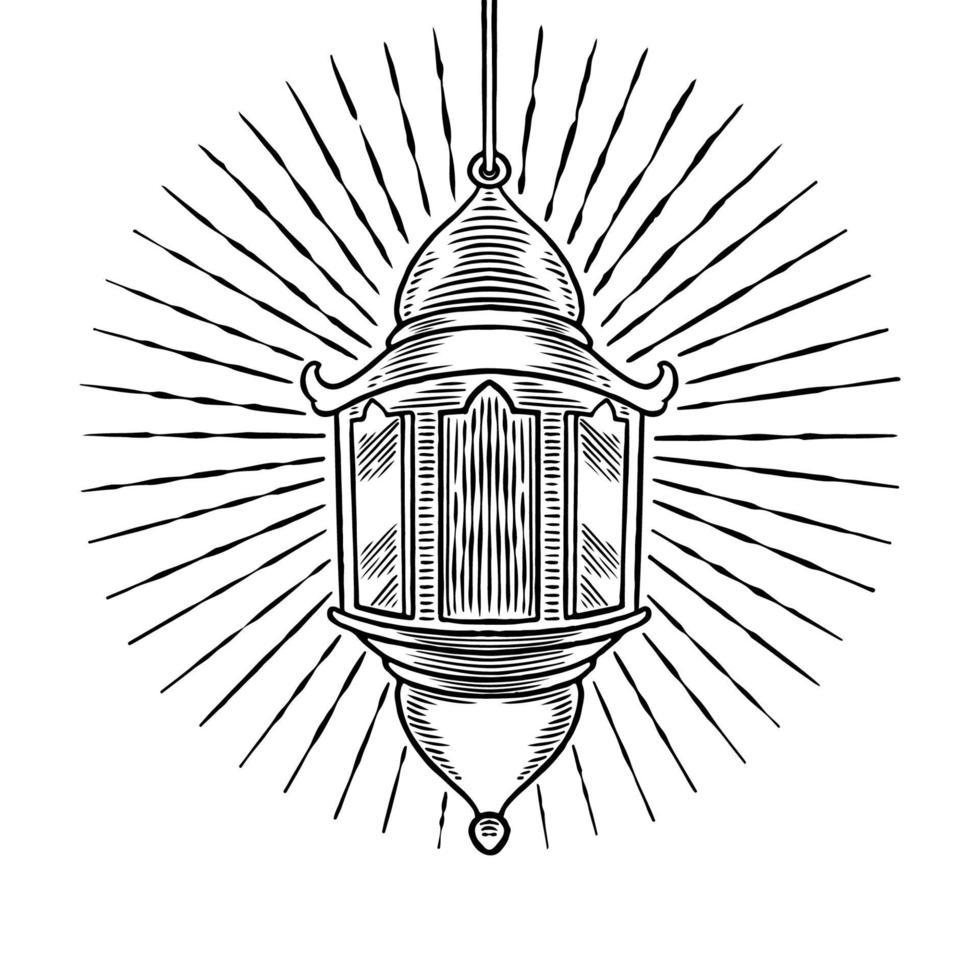 mão desenhada antigo ornamento de lâmpada árabe vintage. esboço lanterna de óleo. tema de celebração do festival islâmico isolado no fundo branco. lanterna turca isolada no fundo branco. ilustração vetorial vetor
