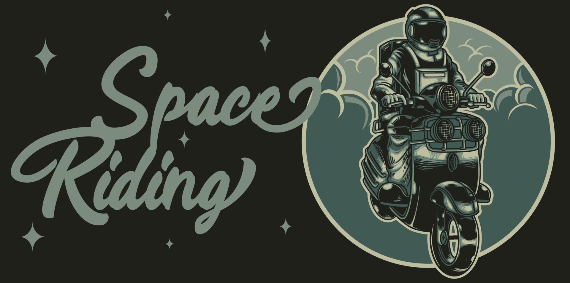astronauta motociclista descolado viaja pelo universo em uma motocicleta em estilo vintage. tema de equitação espacial. ilustração em vetor amante motociclista. bom para pôster, logotipo, adesivo ou mercadoria de vestuário.