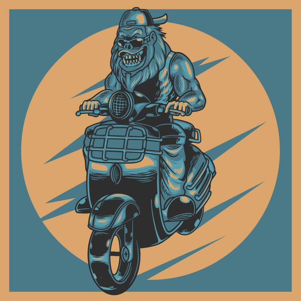 Rótulo vintage animal moto rider com gorila agressivo usando óculos escuros em motocicleta. bestride na mini velha motocicleta retro. ilustração vetorial design para o amante do motociclista. estampas de camisetas de roupas vetor