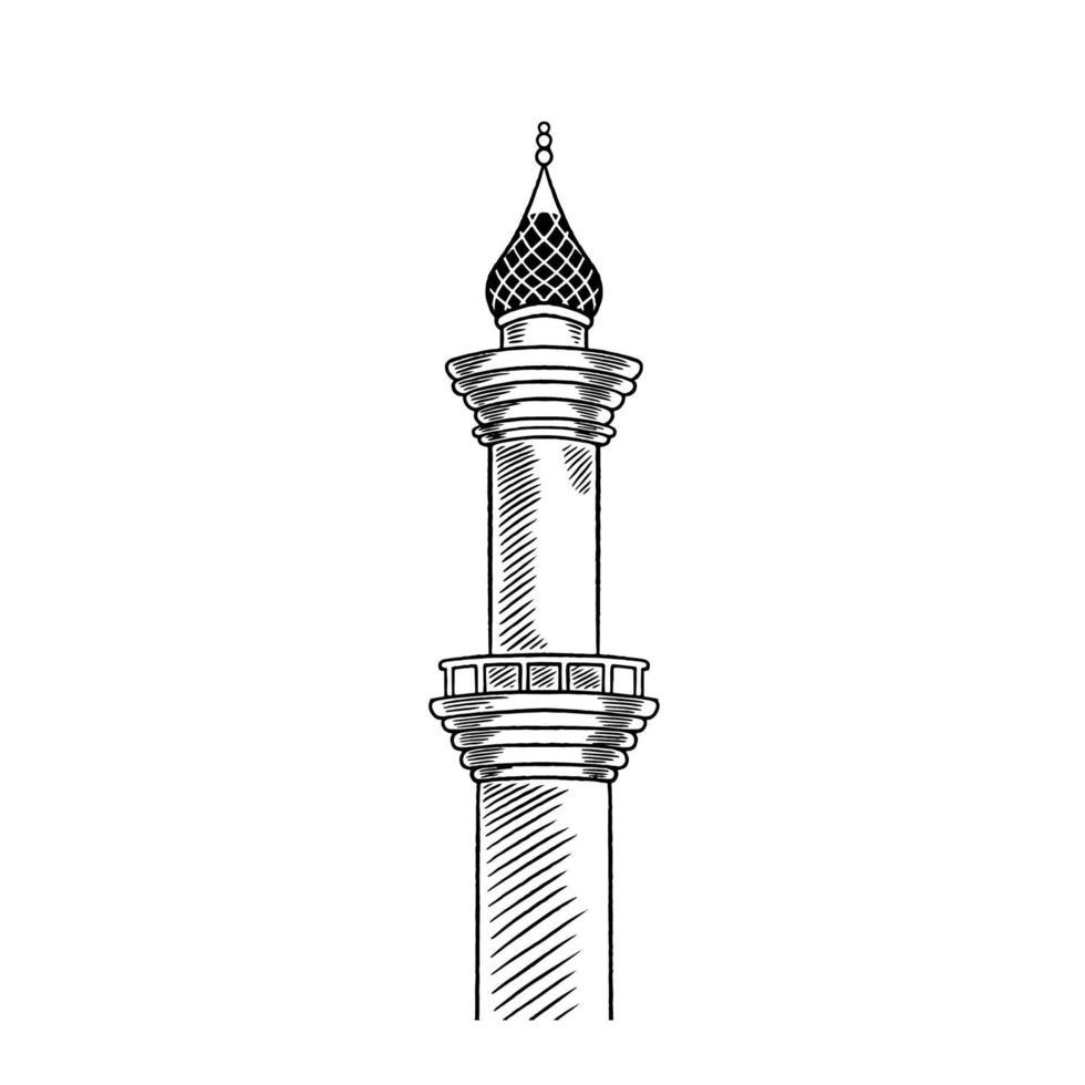 esboço do vetor da ilustração da mão desenhada da torre da mesquita. ramadhan kareem, feliz eid mubarak, conceito de celebração ramadhan isolado no fundo branco. tradição muçulmana com design de religião árabe