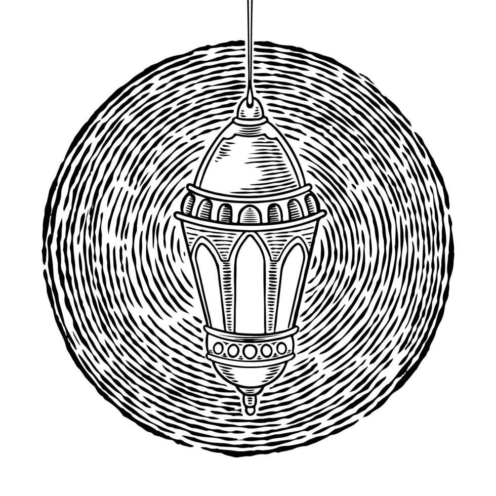 mão desenhada lâmpada de querosene vintage. design islâmico com lanterna pendurada retro velha isolada no fundo branco. ramadan kareem, tema eid mubarak. desenho vetorial ilustração de lanterna a óleo. vetor
