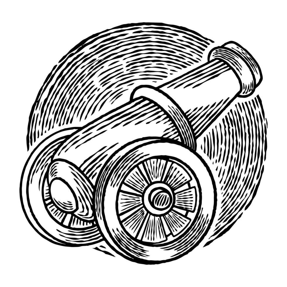 vetor desenhado à mão de uma bola de canhão de metal voltada para o céu pronto para um tiro isolado no fundo branco. conceito de design ramadan kareem com arma vintage. celebração do feriado islâmico tradicional.