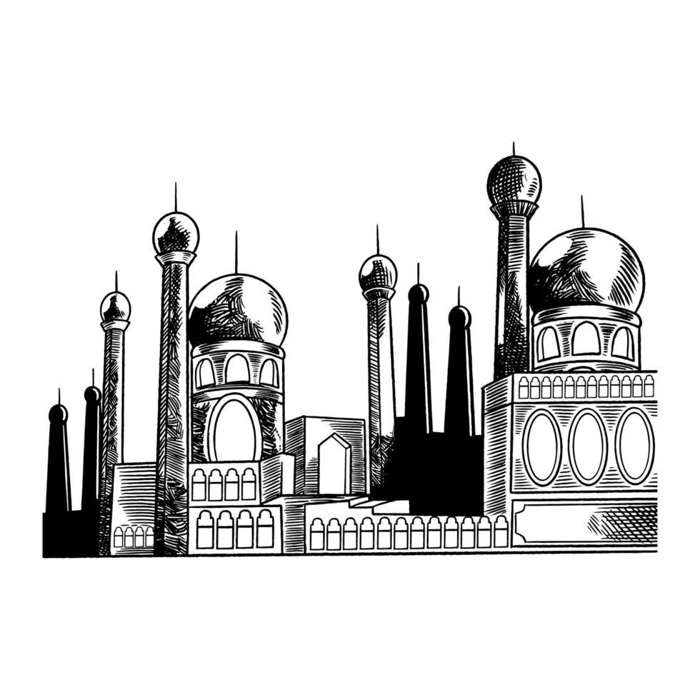 fundo árabe vector com mesquita desenhada de mão. modelo de design para ramadan kareem e eid mubarak. celebração de feriado islâmico tradicional, religião árabe e ilustração de esboço de cultura