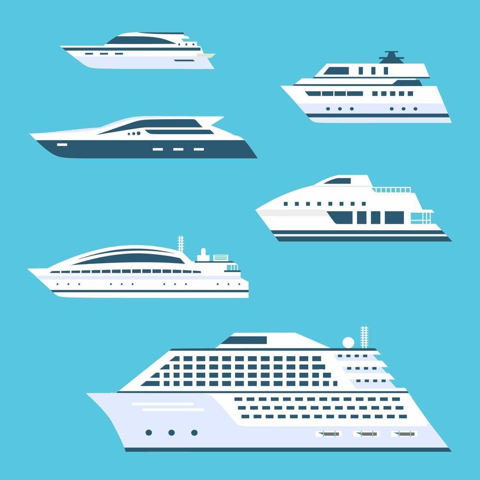 grande conjunto de ícones de vetor plana de navio de cruzeiro. bela elite, navio de luxo no mar. coleção de ilustração de iate de transporte oceânico em estilo cartoon, isolado sobre fundo azul.