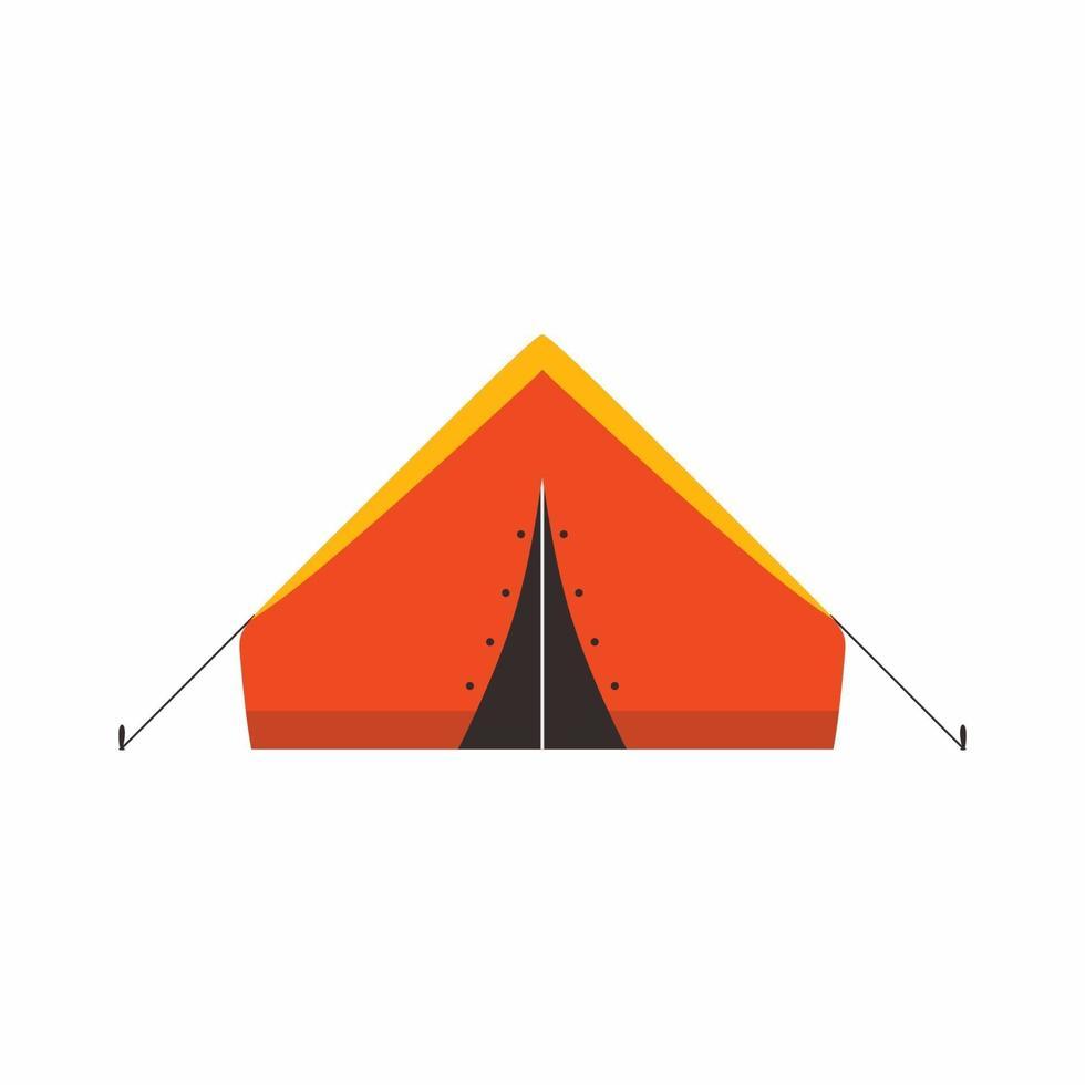 barraca de acampamento em viagens ao ar livre com estilo de desenho animado da floresta de verão. equipamento para piqueniques ao ar livre. conceito de aventura e férias. ilustração em vetor plana para turismo de natureza, viagem, aventura.