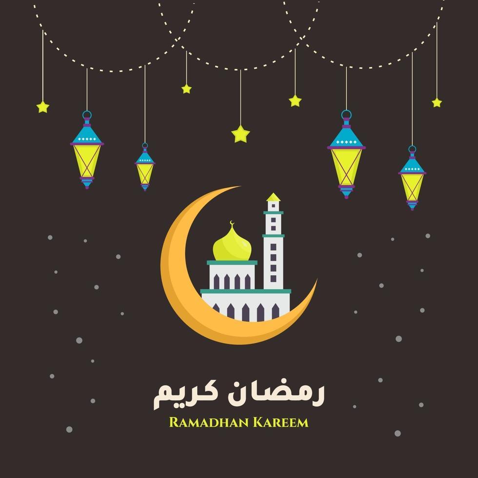 ramadan kareem, mês sagrado da religião muçulmana com mesquita em uma lua e lanterna tradicional. tema eid mubarak feliz. elemento de design plano. ilustração vetorial isolada em fundo preto vetor
