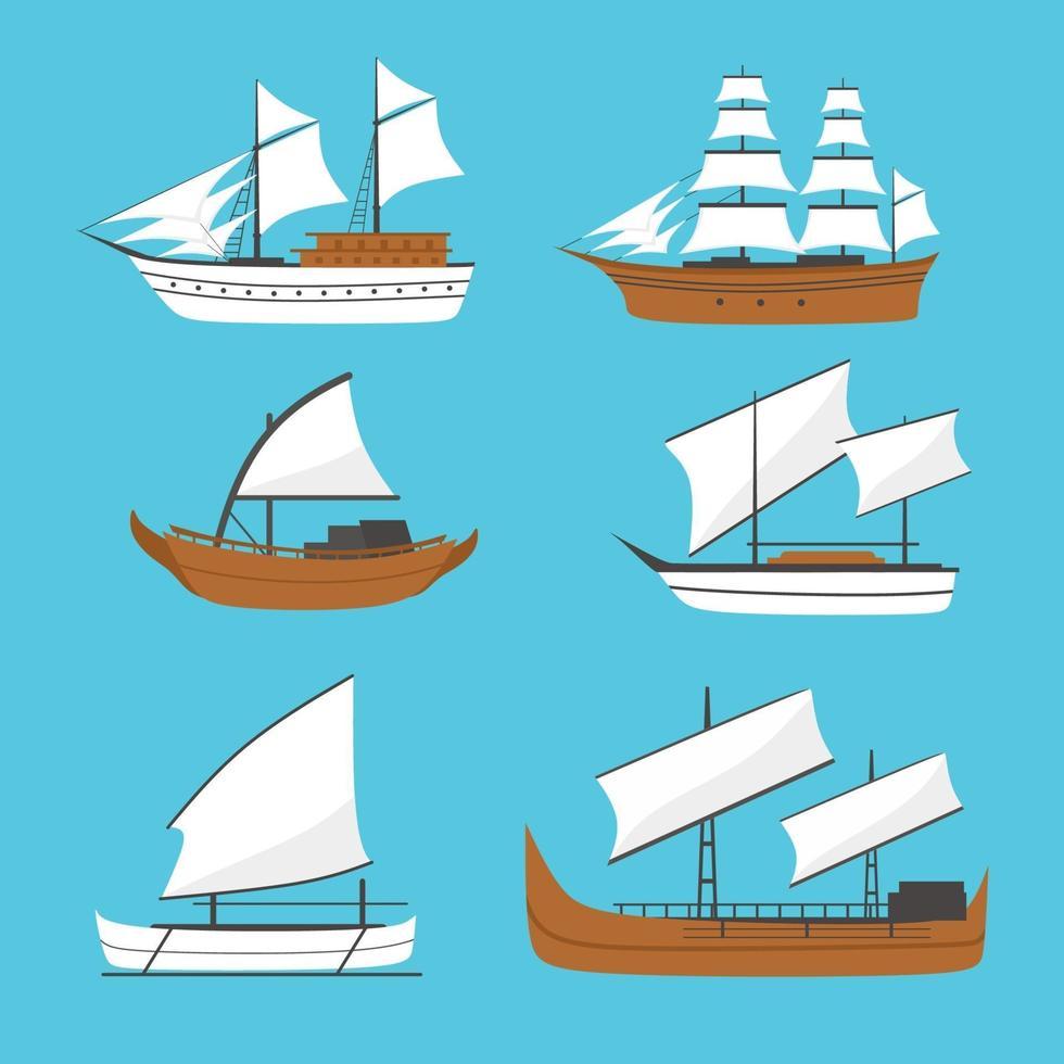 vetor barco à vela plana, ícone do navio, conjunto. velho navio de madeira com velas brancas. navio phinisi, navio barqque sadov, navio patorani, viagem por transporte marítimo, navio marinho tradicional asiático.