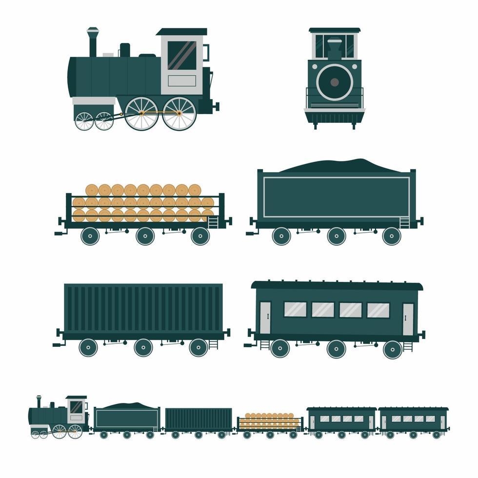 estilo plano de trem antigo. conjunto de ícones de transporte de trem vintage plana. trem a vapor, trem de passageiros ee vista frontal e lateral do trem de carga isolada no fundo branco. ilustração de desenho vetorial vetor