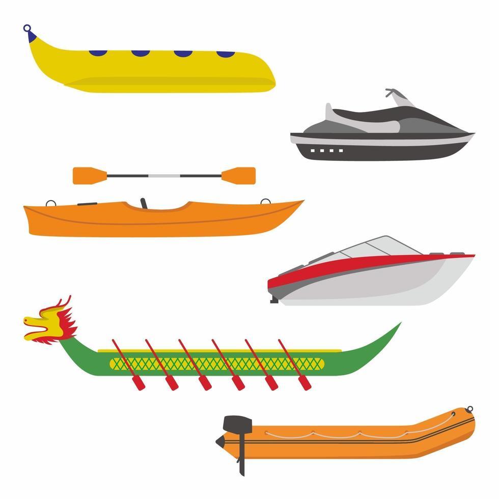 conjunto de ícones de barco. ilustração plana de diferentes tipos de transporte de barco fluvial. incluem banana boat, lancha rápida, navio dragão, barco inflável e vetor de jet ski isolado no fundo branco