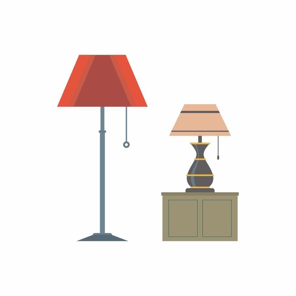 piso de móveis e abajur em estilo cartoon plana. itens da moda de grife para decoração de interiores de apartamento ou escritório, isolado no fundo branco. ilustração vetorial minimalista vetor