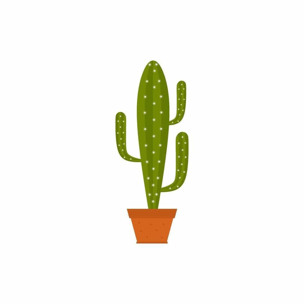 cactos em vasos isolados no fundo branco. cacto com vasos de terracota para decoração de interiores em estilo cartoon. conceito de planta de casa natural. ilustrações, ícones e design de interiores lisos do vetor. vetor