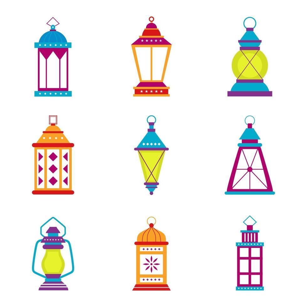 conjunto de lanternas tradicionais e decoração oriental da cultura islâmica. ramadan kareem, happy eid mubarak. celebração do feriado muçulmano. ilustração vetorial design isolado no fundo branco vetor