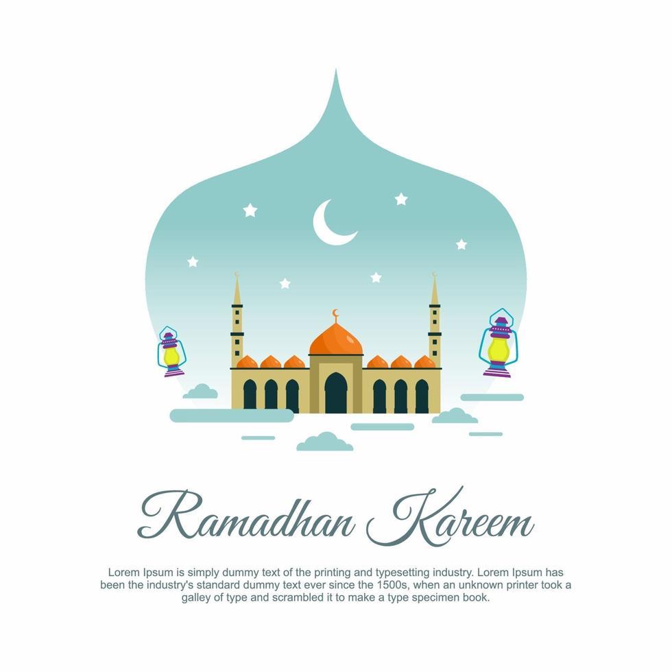 ilustração de ramadan kareem saudação fundo islâmico com bela lanterna tradicional árabe para a celebração do festival da comunidade muçulmana. ilustração vetorial plana em fundo branco vetor