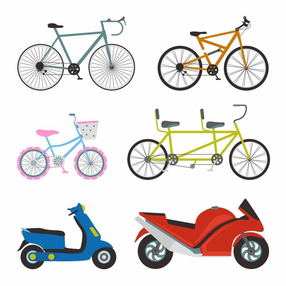conjunto simples de design de vetor de ícones plana de transporte. contém como bicicleta esportiva, bicicleta feminina, motocicleta matic e motocicleta esportiva. ilustração dos desenhos animados dos elementos do vetor de transporte