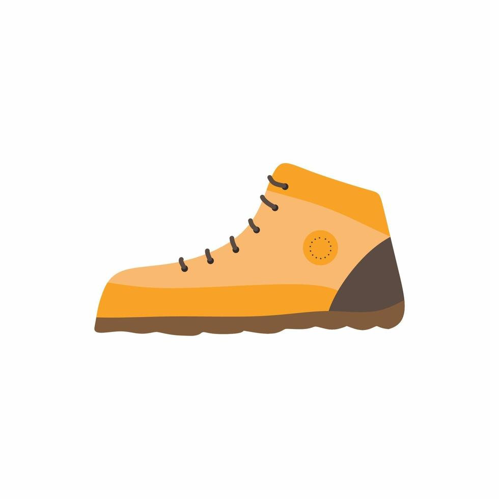 ícone de botas de turista isolado no fundo branco. bota de couro resistente, camping e caminhadas ao ar livre. sapatos de montanha para caminhadas, viagens ou expedições. conceito de aventura. ilustração de desenho vetorial plana vetor