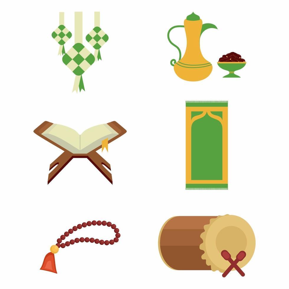 conjunto de ícones kareem ramadan isolado no fundo branco. livro de Alcorão, contas de oração, ketupat, comida de férias, tambor ou bedug. ornamento plano árabe, tema de celebração islâmica do ramadã. ilustração vetorial vetor