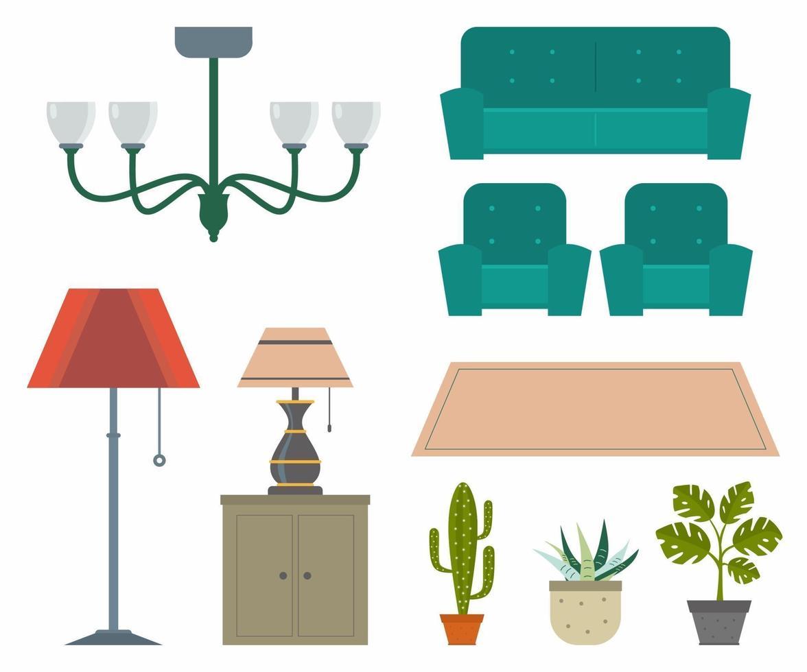 conjunto de ícones do interior. projetar móveis da moda com diferentes modelos de lâmpada, cadeira, sofá, tapete, cacto e folha de monstera. móveis e elementos para sala, quarto, cozinha, banheiro, escritório. vetor