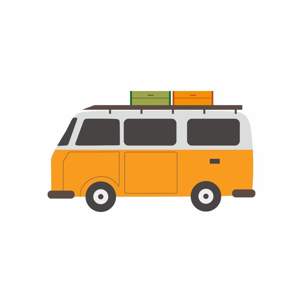 van camping para turismo de aventura, viagens, viagens, mochila e recreação. hora de viajar, férias de acampamento de verão. ilustração em vetor mínimo estilo design plano. carros de conforto para viagens em família