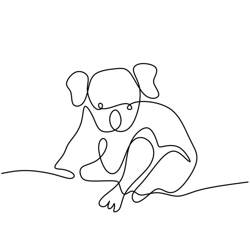 um desenho de linha contínua de um adorável coala. ursinho do conceito de mascote da Austrália para o ícone do parque de conservação. animal bonito coala isolado no fundo branco. ilustração vetorial vetor
