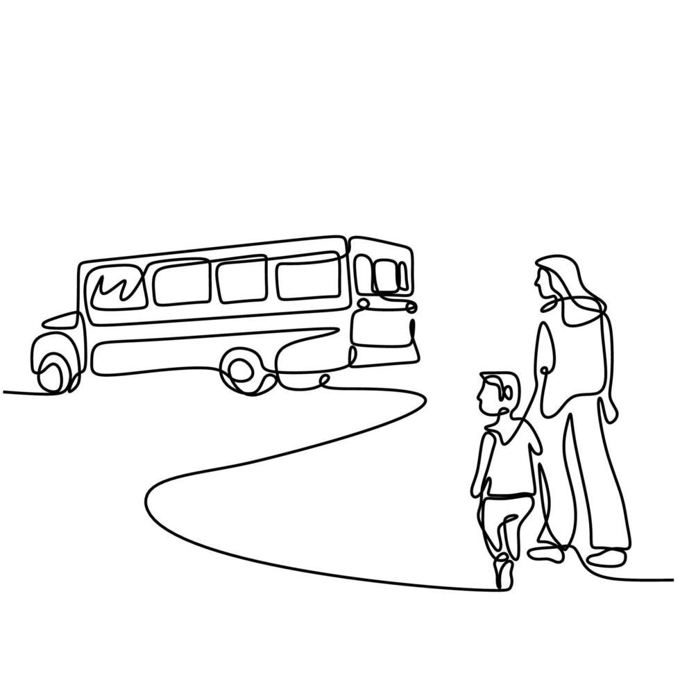 contínuo um desenho de linha de uma jovem mãe leva seu filho ao ônibus escolar. criança feliz está de pé com a mãe na rua. de volta às aulas conceito handdrawn line art minimalism design vetor