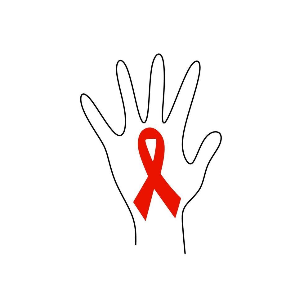 a mão humana com fita vermelha auxilia no desenho de uma linha contínua. apoie a esperança de cura e pare o conceito de aids. dia mundial da sida, 1 de dezembro. fita do emblema de caridade isolada no fundo branco. vetor