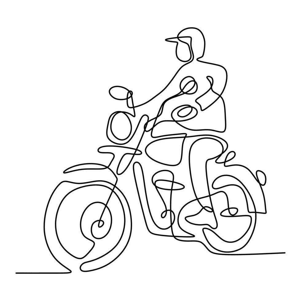 uma linha contínua de um homem andando de motocicleta velha. jovem homem usando capacete e anda de um motor de helicóptero na rua. conceito retrô de moto. estilo minimalista criativo vintage. ilustração vetorial vetor