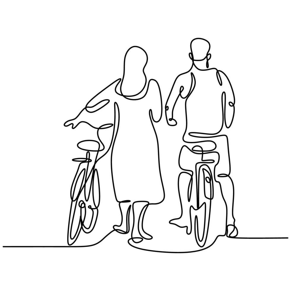 um desenho de linha contínua de um jovem casal feliz dá um passeio de bicicleta. amar masculino e feminino de bicicleta, passeios românticos juntos no parque ao ar livre. conceito de relacionamento amoroso. vetor