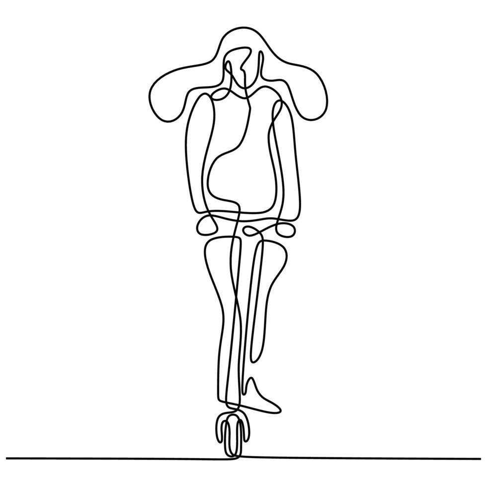 contínuo um desenho de linha de uma jovem andando em uma scooter elétrica. menina adolescente enérgica andando de scooter elétrica urbana na rua desenho minimalista de arte linha desenhada à mão sobre fundo branco vetor
