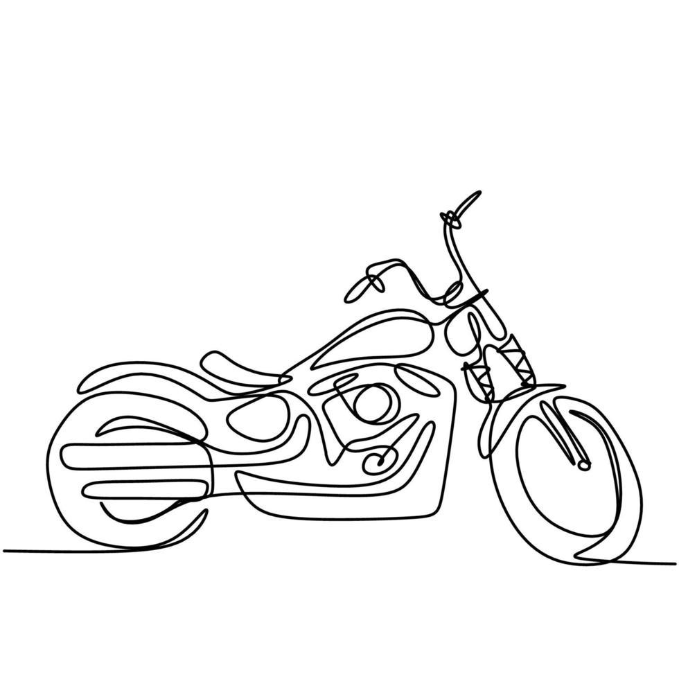 contínuo um desenho de linha da velha motocicleta vintage clássica. moto retrô legal isolada no fundo branco. conceito de transporte de motocicleta antigo em design minimalista. ilustração vetorial vetor
