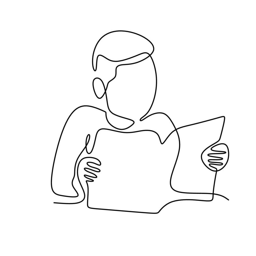 um adolescente com um livro de desenho de linha contínua. jovem sentado e lendo um livro para estudar na sala isolada no fundo branco. conceito de volta às aulas em estilo minimalista vetor